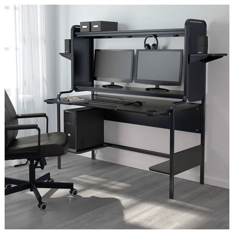 Ikea Computer Desk Fredde Workstation Black 185x146x74 Cm Ikea