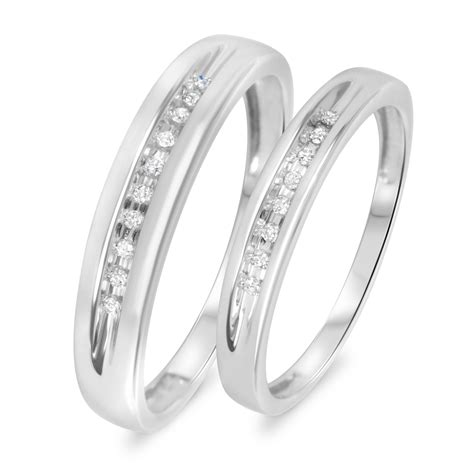 His And Hers Wedding Rings by 1 10 Carat T W His And Hers Wedding Rings 10k