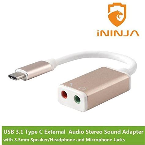 C Tech Adapter Usb To Sound ininja tm usb3 1 type c usb c to external audio stereo sound adapter with 3 5mm speaker