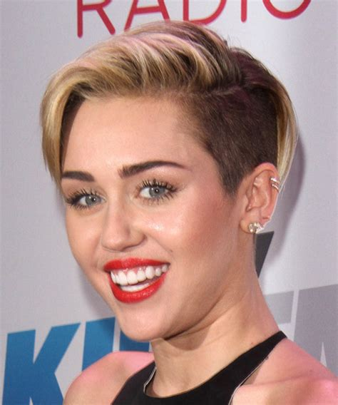 views of miley cyrus hair cut miley cyrus short straight casual hairstyle dark blonde