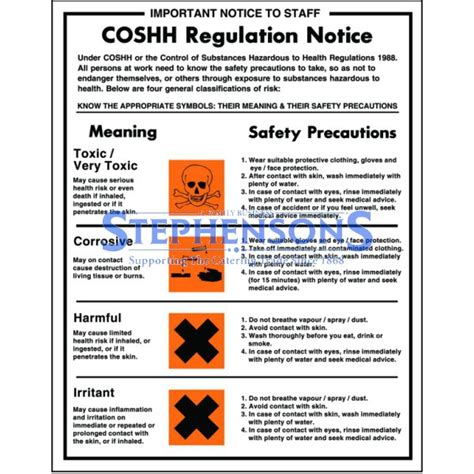 printable coshh poster coshh regulation notice poster 35x27cm stephensons