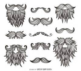 hipster moustaches beards drawing free vector
