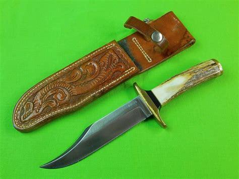 Custom Handmade - custom made viking stag bowie knife w sheath