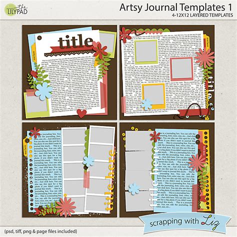 scrapbook layout templates 12x12 digital scrapbook template artsy journal 1 scrapping