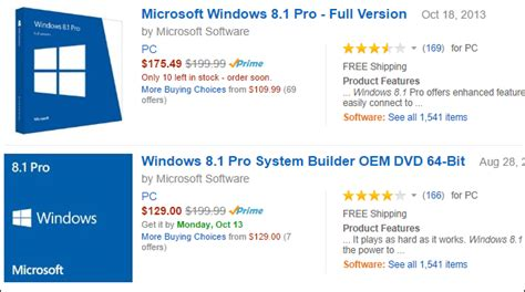 amazon windows 8 1 pro system builder oem dvd 32 bit what s the difference between the system builder and