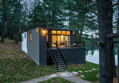 Mountain Home Decor modern prefab cabin in quebec uses innovative wood panels