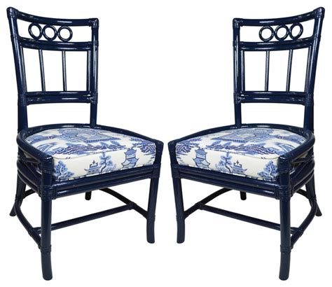 Schumacher Furniture by Ficks Reed Navy Schumacher Chairs Pair