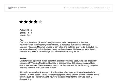 gladiator film review gcse film review gladiator gcse english marked by