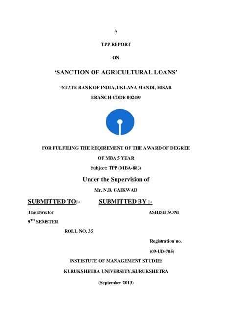 Sbi Credit Letter Sanction Of Agriculture Loan