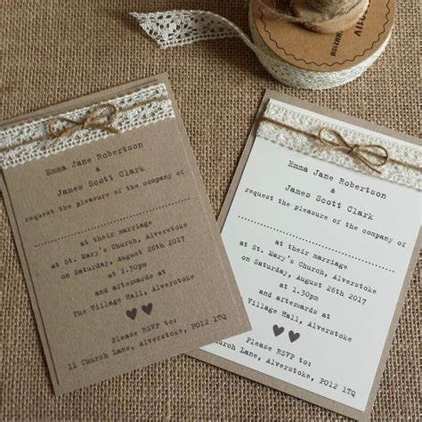 vintage style wedding invitation kraft ivory lace twine rustic shabby chic vintage inspired