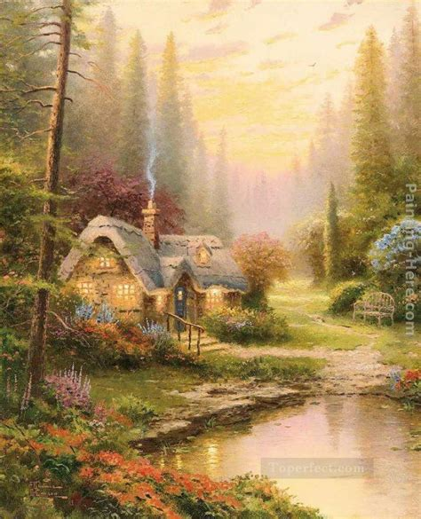 cottage paintings by kinkade meadowood cottage kinkade painting in for sale