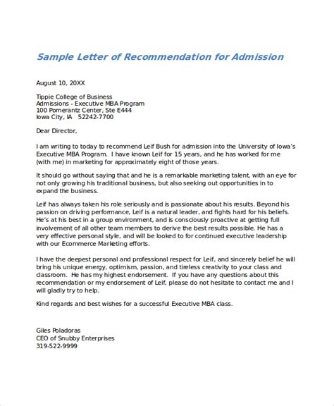 Letter Of Recommendation For College Admission Exles Sle Letter Of Recommendation 23 Free Documents In Doc