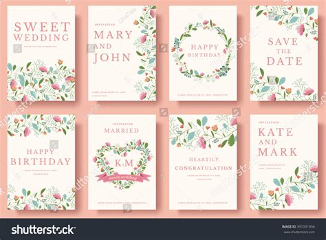 Wedding Book Concept by Set Flower Wedding Ornament Concept Stock Vector