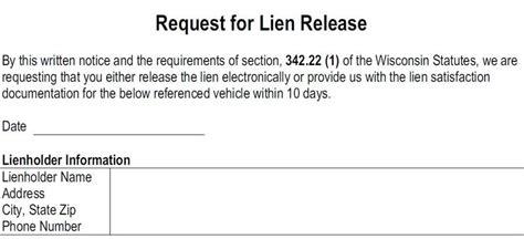 Lien Release Request Letter request for lien release