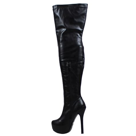 womens evening thigh high block heel winter wide fit