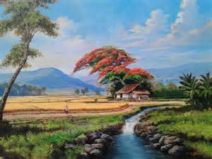 lukisan pemandangan alam dengan pensil foto anak sma