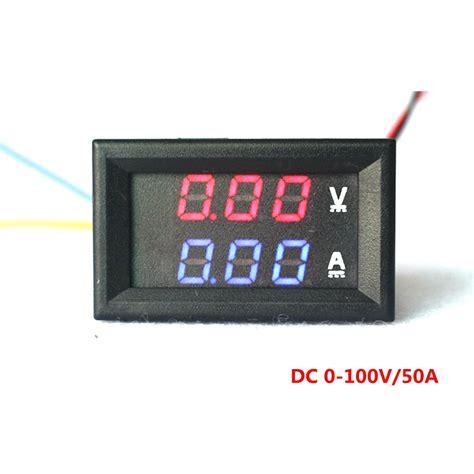 Dual Voltmeter Ermeter Dc 0 100v 50a Led Merah Shunt yb27va dc 0 100v 50a digital ammeter voltmeter 2 in 1 digital voltage volt meter blue