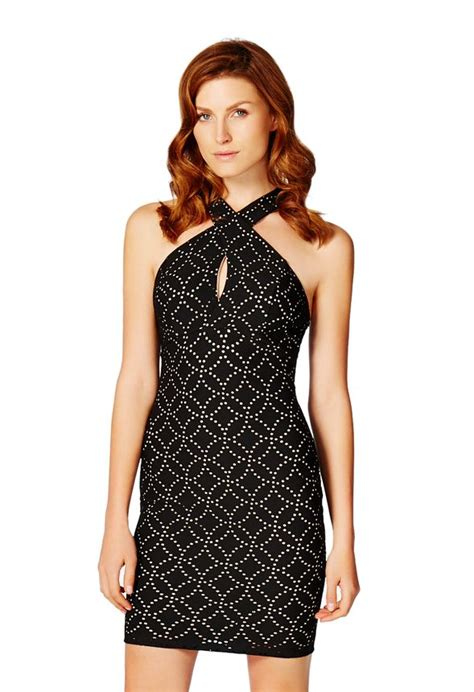 Id 860 Landscape Dress Black keyhole perforated dress in black multi get great deals at justfab