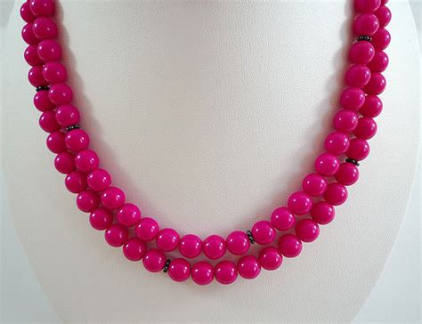pink necklace fuchsia necklace pink glass