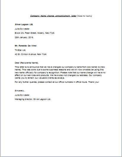 Cover Letter For Change Of Name by Cover Letter Change Of Company Name Cover Letter