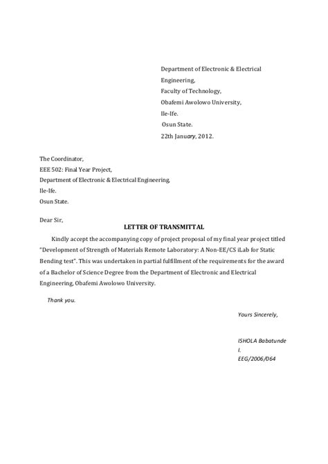 Transmittal Letter For Materials Report On The Strength Of Materials I Lab