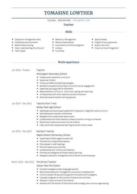 teacher cv exles and template