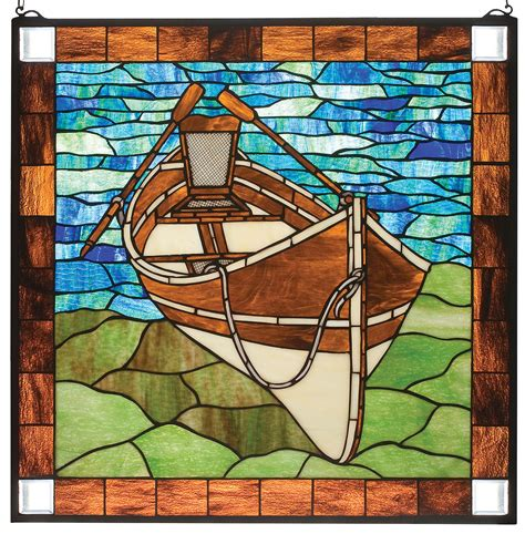 Guideboat beached canoe guide boat stained glass window panel