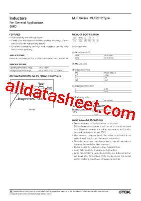tdk capacitors datasheet mlf2012 datasheet pdf tdk electronics