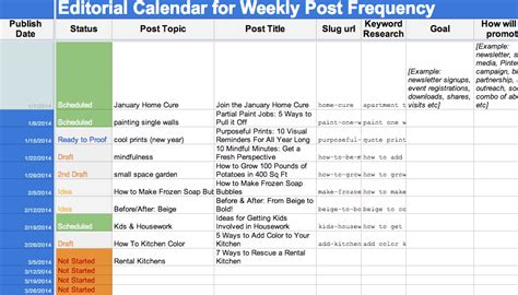 2015 editorial calendar template free download