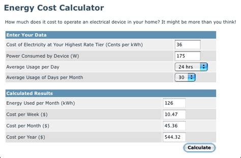 best 28 electricity consumption cost calculator