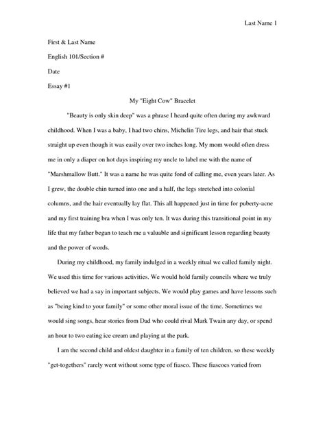 Personal Narrative Essay Examples For Colleges | Writings
