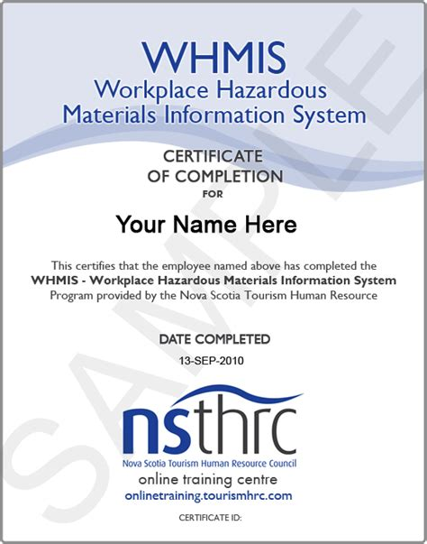 whmis certificate template thrc centre available courses