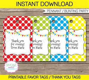 pennant birthday party favor tags thank you tags