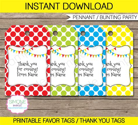 printable birthday favors pennant birthday party favor tags thank you tags
