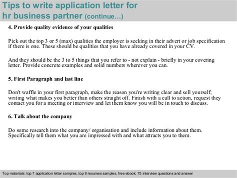 application letter for business partnership hr business partner application letter