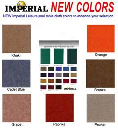 billiard colors pool table felt imperial proline simonis and velocity pro