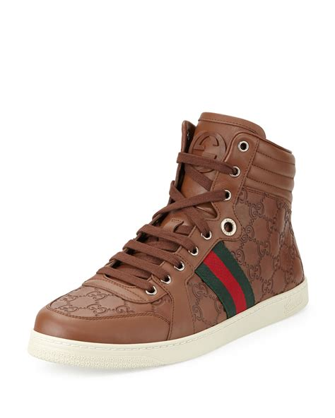 gucci high top sneakers for gucci leather high top sneakers in brown for lyst