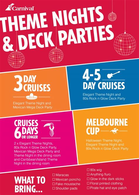 carnival cruise themes carnival theme nights and deck parties