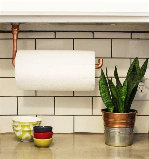 kitchen towel bar under diy under cabinet hanging copper paper towel holder