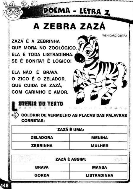 Poema e atividades com a letra Z. - Aprender e Brincar