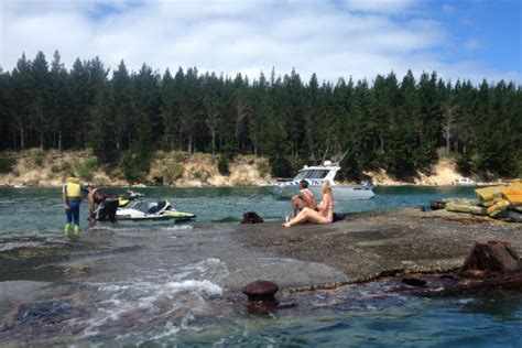 jet ski crashes into boat sunlive jetski crashes into wreck two hurt the bay s