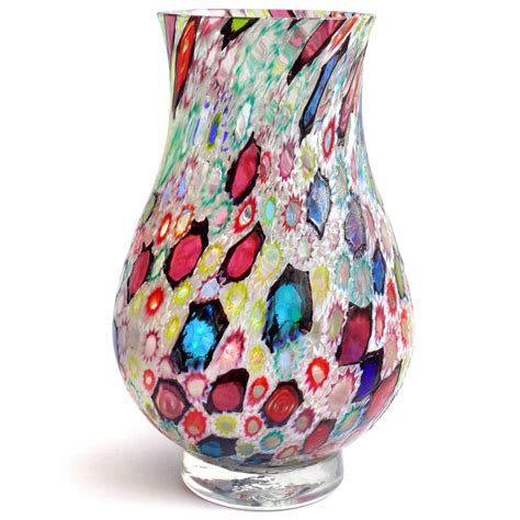 Decorative Glass Bowls And Vases by Fratelli Toso Murano Millefiori Flower Mosaic Italian