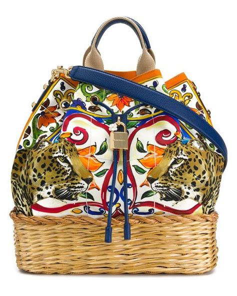 Dolce Gabbana Dolce And Gabbana Large Buckle Basket Weave Canvas Tote by Dolce Gabbana Dolce Majolica Leopard Print Large
