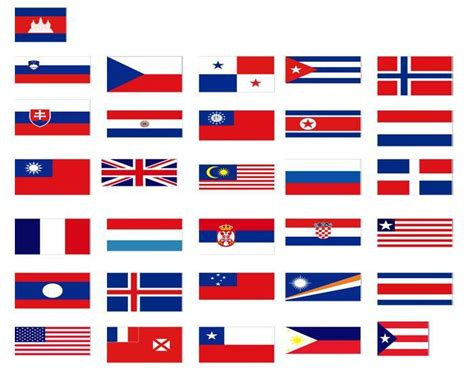 flags of the world red white blue world flags red white and blue