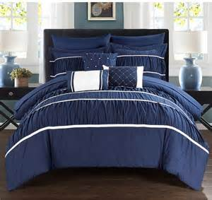 bed in a bag king size comforter and sheet set navy blue white 10 pc
