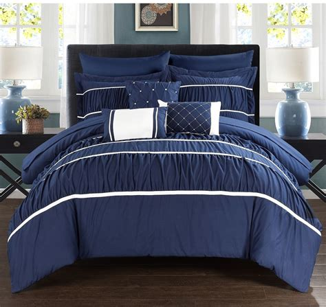 King Size Comforter And Sheet Set Navy Blue White 10 Pc Bed In A Bag