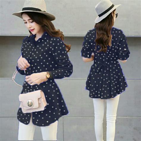 Blouse Crepe Import Fashion Cewek model baju atasan remaja lengan panjang motif polkadot terbaru