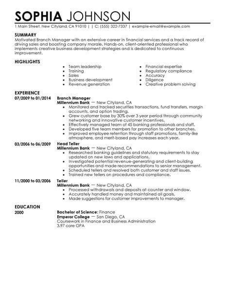 bank branch operations manager resume sle best branch manager resume exle livecareer