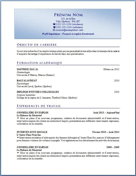 Création De Cv by Mod 232 Le De Cv Gratuit Open Office Sle Resume