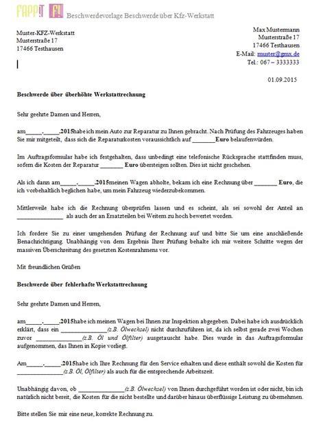 Musterbrief Beschwerde Lehrer beschwerde 252 ber werkstatt bzw autoreparatur fappit index und beschwerden